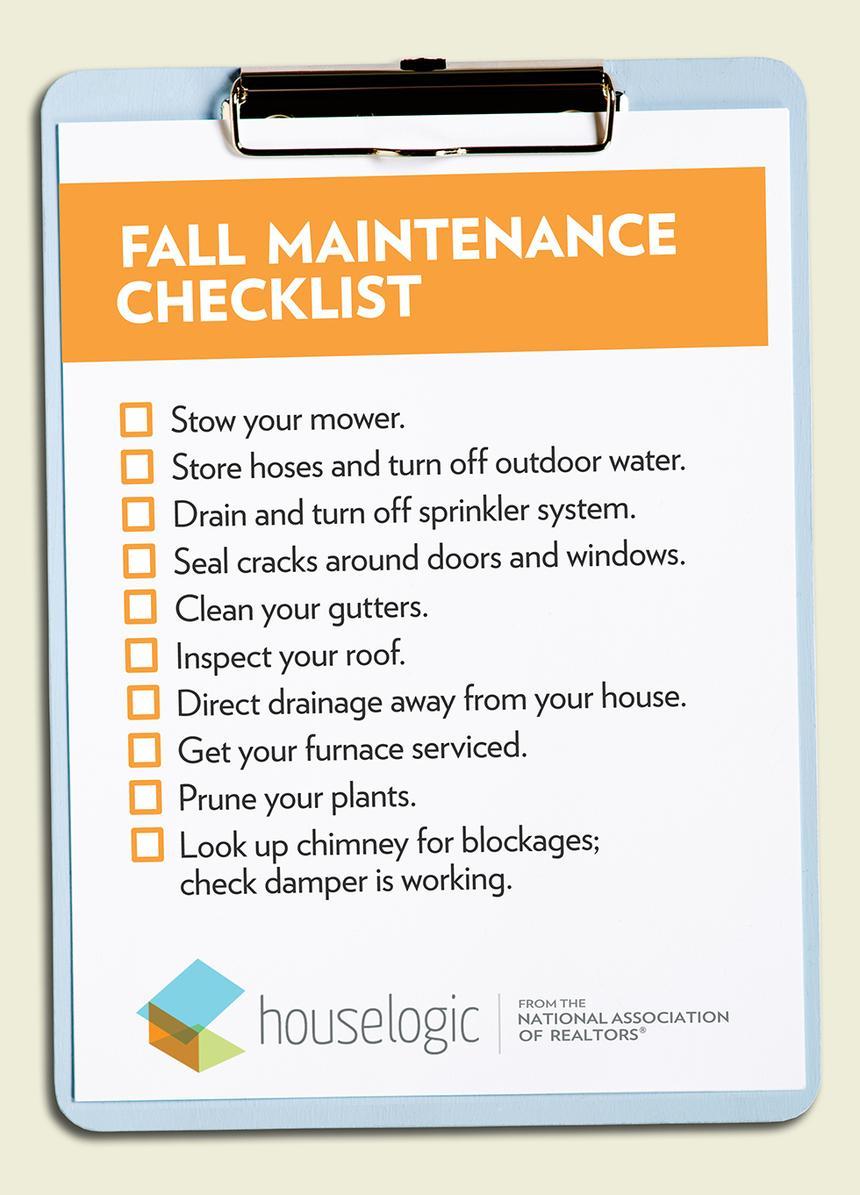 Fall Home Maintenance Checklist Kevin P Brennan